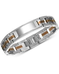 Macy's Id Link Bracelet In Stainless Steel, Sterling Silver And Bronze Pvd - Metallic