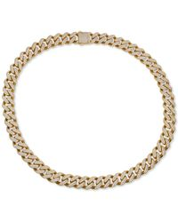 """Macy's Cubic Zirconia Curb Link 24"""" Chain Necklace In 24k Gold-plated Sterling Silver - Metallic"""