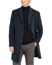 Tommy Hilfiger Addison Wool-blend Trim Fit Overcoat - Blue