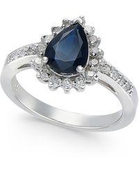 Macy's - Sapphire (1-3/8 Ct. T.w.) & Diamond (1/3 Ct. T.w.) Ring In 14k White Gold - Lyst