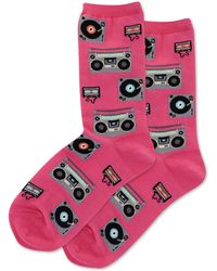 Hot Sox Retro Music Crew Socks - Pink