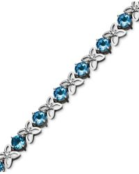 Macy's - Sterling Silver Bracelet, Blue Topaz (9-1/2 Ct. T.w.) And Diamond Accent Flower - Lyst