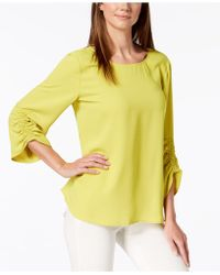 Lyst Alfani Smocked 3 4 Sleeve Blouse Created For Macy S In Yellow