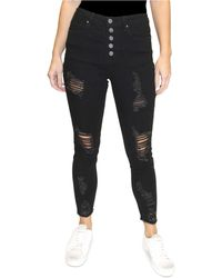 Almost Famous Juniors' Distressed Button-fly Skinny Jeans - Black