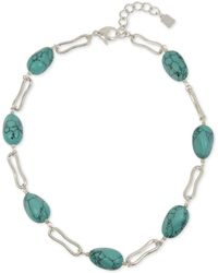 "Robert Lee Morris Silver-tone Link & Stone Collar Necklace, 18"" + 2"" Extender - Blue"