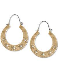 9302a935d9fb31 Lucky Brand - Gold-tone Flower-engraved Hoop Earrings - Lyst