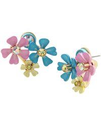 Betsey Johnson Flower Cluster Earrings - Multicolor