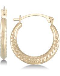Macy's - Textured Hoop Earrings In 10k Gold - Lyst