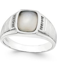 Macy's Men's Moonstone (10 X 8mm) And Diamond Accent Ring In Sterling Silver - Metallic