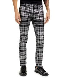 INC International Concepts Skinny-fit Stretch Plaid Jeans, Created For Macy's - Black
