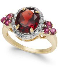 Macy's - Garnet (3-5/8 Ct. T.w.) & Diamond (1/4 Ct. T.w.) Ring In 10k Gold - Lyst