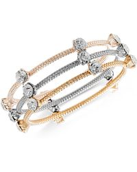 Steve Madden - Tri-tone 3-pc. Set Crystal Bangle Bracelets - Lyst