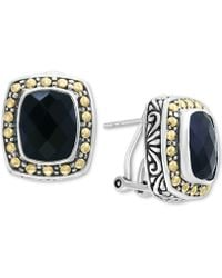 Effy Collection - Onyx (10 X 8mm) Stud Earrings In Sterling Silver & 18k Gold - Lyst