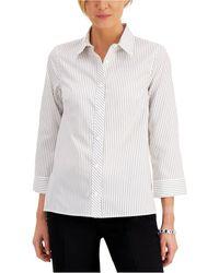 Kasper Striped 3/4-sleeve Cotton Shirt - White
