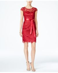 Adrianna Papell - Cap-sleeve Illusion Lace Sheath - Lyst
