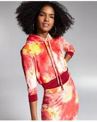 INC International Concepts Misa Hylton For Inc Cropped Tie-dyed Hoodie, Created For Macy's - Red