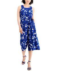 Nine West Printed Belted Jumpsuit - Blue
