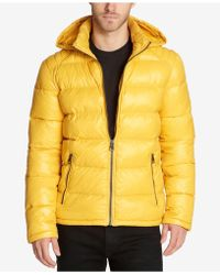 Guess Hooded Puffer Coat - Yellow