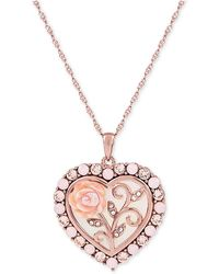"""Macy's - Mother Of Pearl (16mm) Rose Cameo 18"""" Necklace In 18k Rose Gold Over Sterling Silver - Lyst"""