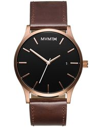 MVMT Classic Brown Leather Strap Watch 45mm