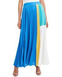 BCBGMAXAZRIA Pleated Colorblocked Maxi Skirt - Blue