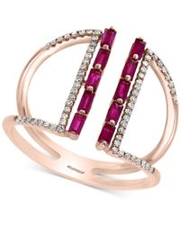 Effy Collection Effy® Ruby (1/2 Ct. T.w.) & Diamond (1/5 Ct. T.w.) Statement Ring In 14k Rose Gold - Metallic