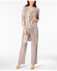 R & M Richards 3-pc. Sequined Lace Pantsuit & Jacket