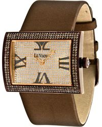 Le Vian - Diamond Unisex Brown Leather Strap Watch (4-1/2 Ct. T.w.) 43mm Zag139a - Lyst