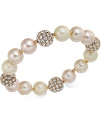 Charter Club - Rose Gold-tone Pavé & Imitation Pearl Stretch Bracelet - Lyst