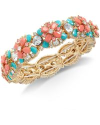 Charter Club - Gold-tone Crystal & Stone Stretch Bracelet, Created For Macy's - Lyst