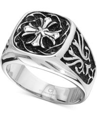 Macy's - Celtic Cross Ring In Stainless Steel & Black Ion-plate - Lyst