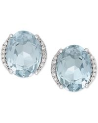 Macy's - Aquamarine (3 Ct. T.w.) And Diamond Accent Stud Earrings In 14k White Gold - Lyst