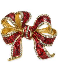 Charter Club Holiday Lane Gold-tone Crystal & Epoxy Gift Bow Pin, Created For Macy's - Metallic