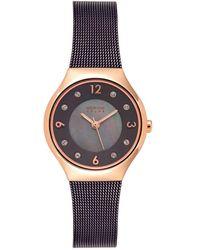 Bering Solar Powered Brown Stainless Steel Mesh Bracelet Watch 27mm