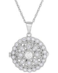 Macy's - Cubic Zirconia Round Locket Pendant Necklace In Sterling Silver - Lyst