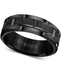 Triton Ring, 8mm Wedding Band In White Or Black Tungsten - Gray