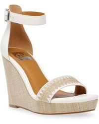 DV by Dolce Vita Harla Platform Raffia Wedge Sandals - White