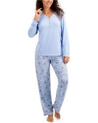 Charter Club Soft Knit Pajama Set, Created For Macy's - Blue