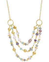 Catherine Malandrino Beaded Layered Chain Necklace - Metallic