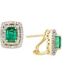 Rare Featuring Gemfields - Certified Emerald (1-1/2 Ct. T.w.) And Diamond (3/8 Ct. T.w.) Square Omega Clip Earrings In 14k Gold - Lyst