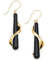 Macy's - 14k Gold Onyx Spiral Drop Earrings - Lyst