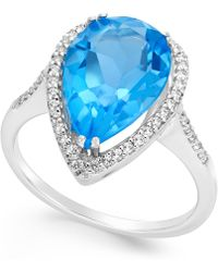 Macy's - Blue And White Topaz Halo Ring (5 Ct. T.w.) In Sterling Silver - Lyst