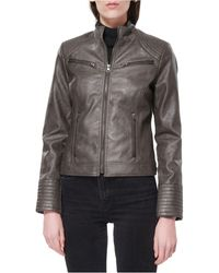 Maralyn & Me Juniors' Faux-leather Jacket, Created For Macy's - Gray