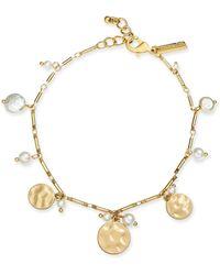INC International Concepts Inc Gold-tone Shaky Disc & Imitation Pearl Ankle Bracelet, Created For Macy's - Metallic