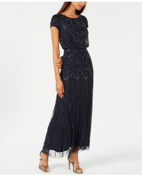 Adrianna Papell - Beaded Short-sleeve Gown - Lyst