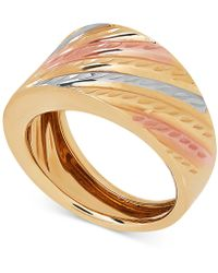 Macy's - Tri-color Statement Ring In 14k Gold & White And Rose Rhodium-plate - Lyst