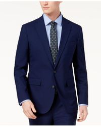 Cole Haan Grand.os Wearable Technology Slim-fit Stretch Solid Suit Jacket - Blue