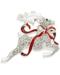 Charter Club Holiday Lane Silver-tone Crystal Flying Reindeer Pin, Created For Macy's - Metallic