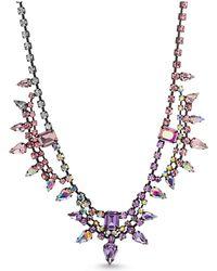 Steve Madden Flower Cluster Link Chain Necklace - Metallic