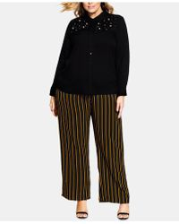 City Chic Trendy Plus Size Embellished Shirt - Black